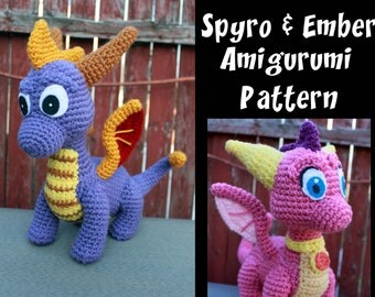 Crochet Pattern: Spyro and Ember Inspired Dragon Amigurumi PDF Instant Download