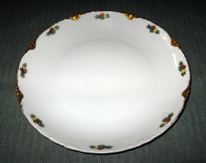 "Antique Rosenthal Bavaria VERSAILLES 8-7/8"" Plate, Gold Trim Hand-Painted Flowers, ca. 1890s"