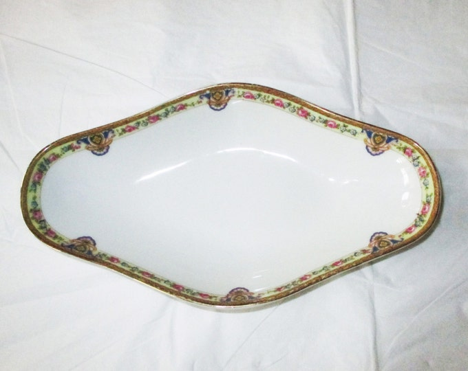 1920s Andres Francois Limoges France 4-sided Oval Bowl, 9.5 inch, Pink Blue Flowers, Medallions, Gold Trim (Pickle or Relish Dish)