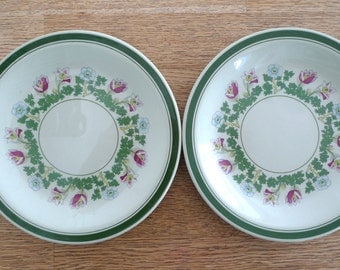 Figgjo Flint Plates - Anitra Norway 1970s Floral Whimsical Green Flowers