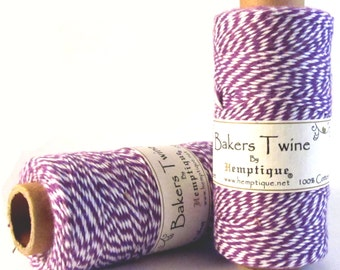 Bakers Twine, Purple and White, 100% Cotton, 410 Feet, 1mm, Cotton Baker's Twine, Macrame Cord