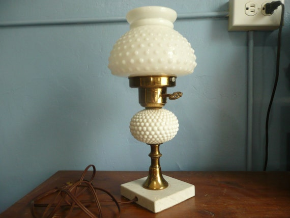 Vintage Hobnail Milk Glass Lamp Marble Base
