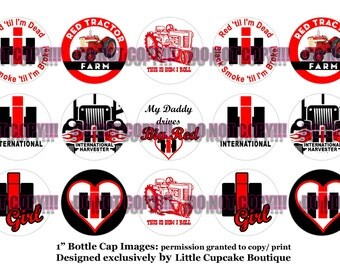 "Red IH Farm Tractors 4x6 Sheet of 1"" Inch Circles~ Quality Bottle Cap Digital Images 300 dpi~ INSTANT DOWNLOAD"
