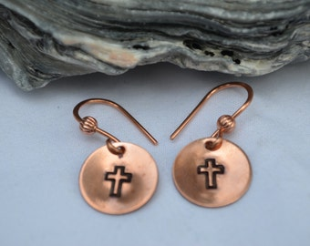 Copper Cross Earrings Hand Stamped Hand Made French Wires