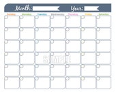 Monthly Calendar Printable - Undated, Editable, Family Calendar, Household Binder, Planner Pages, Instant Download