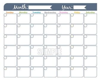 monthly calendar printable undated editable family calendar household ...
