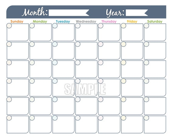 Undated Weekly Calendar : Monthly calendar printable undated editable family
