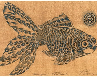Thai traditional art of goldfish by printing on sepia paper