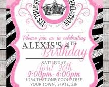 Instant Download diy Zebra Pink Sparkle Silver and Black Princess Birthday Invitation Printable Crown Invite Girls Party Supplies 5x7 PDF
