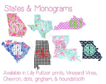 Monogrammed State Decal Choose a pattern add a monogram chevron dots gingham houndstooth