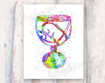 The Mortal Instruments Cup, Watercolor Print, Digital Art, Geekery, Fangirl, Fandom, Mortal Cup, Wall Art, Decoration, Colorful, Splatter