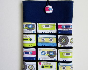 Retro Cassette iPad Mini Sleeve, iPad Mini Case, Kindle HD 7, Nook HD Sleeve, e-Reader Sleeve