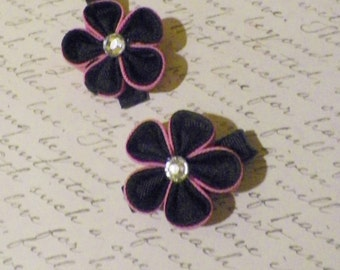 Pink and Black Kanzashi Flower Alligator Clips