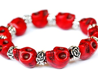 Day of the Dead Skull Bracelet with Silver Rose (Dia De Los Muertos - All Saints Day) - Available in various colors