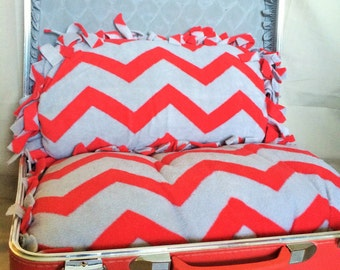 Upcycled Suitcase Pet Bed with Plush Fleece Pillows