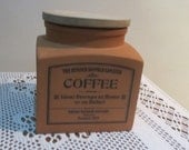 Vintage English Henry Watson Pottery Original Suffolk Terracotta Coffee Cannister