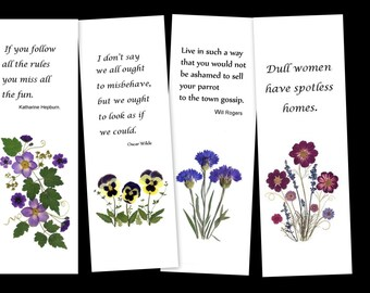 Set of 4 pressed flower bookmarks; Quotes to amuse and entertain - #056