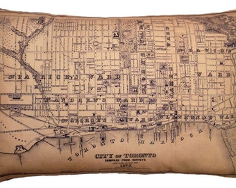 City of Toronto, Canada Vintage Map Pillow - FREE SHIPPING