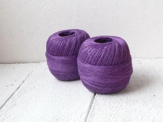 Linen Yarn for crochet , 2ply linen yarn, linen thread,  purple //ONE ball