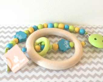 Baby gift set, Pacifier clip, teething toy wooden teether, beaded pacifier clip, bead pacifier clip