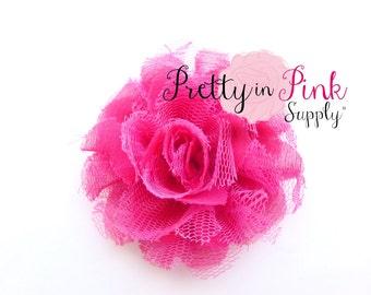 "Hot Pink Small Shredded Lace Chiffon Flower 3.5"" choose quantity...Lace Flowers...Shabby Flower...Chervon Lace Flower Frayed Chiffon"