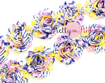 PINK YELLOW BLUE Stripe Shabby Flowers- 1/2 Yard or 1 Yard- Shabby Chiffon Trim- Wholesale Shabby Flowers- Shabby Rose Trim