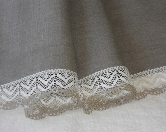 Linen table runner natural beige gray with lace