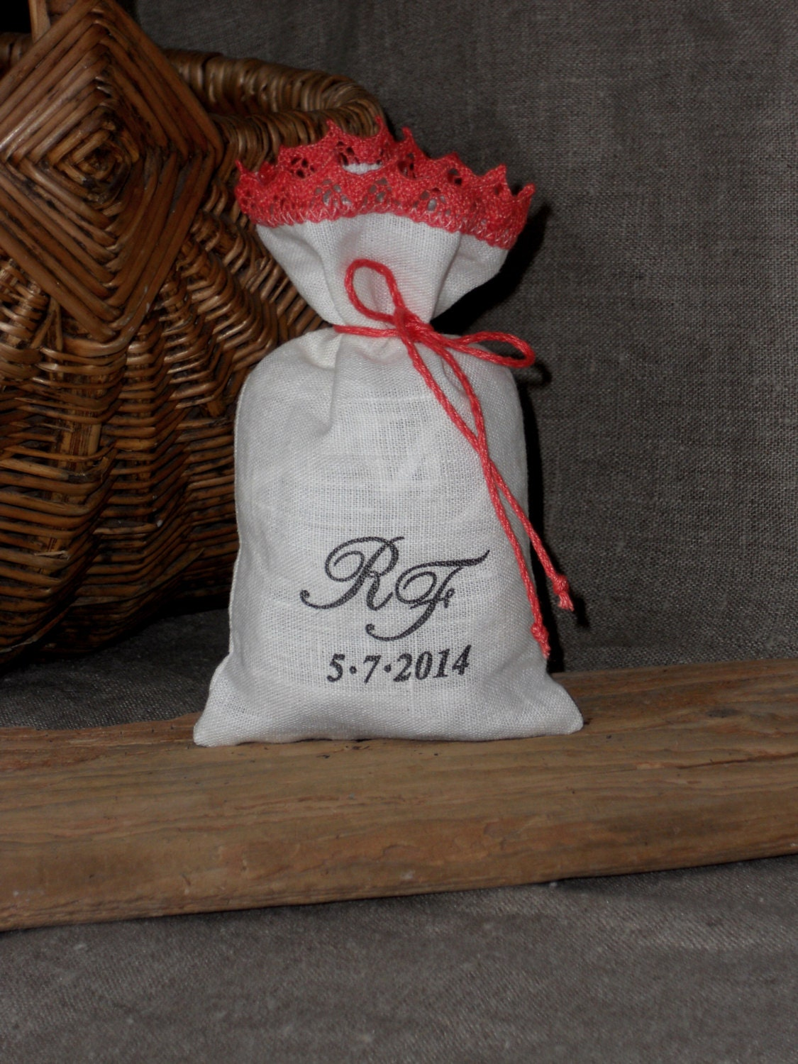 Wedding Favor Bags Coral : Wedding favor bags with coral lace personalized gift by cikucakuu