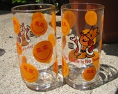Pair of Vintage Burger King Drinking Glasses Smiley Face