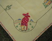 Vintage Yellow Embroidered Tablecloth Mexican Theme WITH Matching Napkins