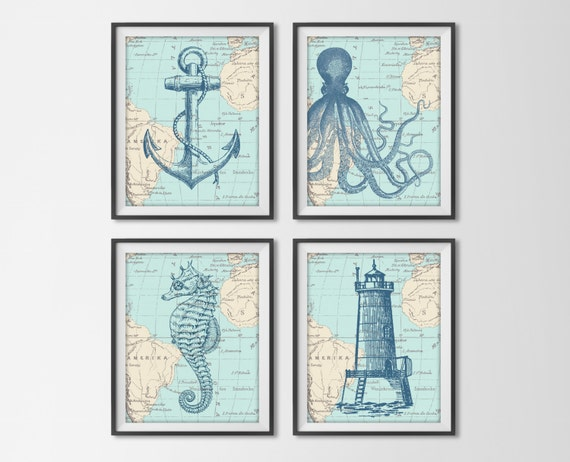 Nautical map sea life set of 4 prints vintage ocean by for Vintage ocean decor