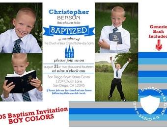 LDS Baptism Invitation - BOY Baptism - Custom LDS Baptism Photo Announcement/Invitation