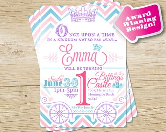 Custom Princess Birthday Party Invitation in Pink, Blue and Purple Chevron - Printable Digital File