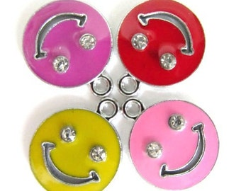 Set of 4 pieces Intense color Enamel and Rhinestone SMILEY FACE Charm Pendants