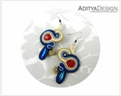 Soutache Earrings, Red Blue, Handmade Jewelry, Marine Earrings, Blue Earrings, Statement Jewelry, Dangling Earrings, Red Earrings, Red Gold