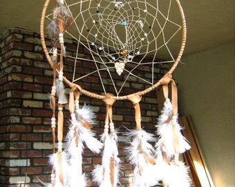 Large Rainbow Moonstone Dream Catcher, Native American inspired, honor mother earth and father sky,native woven in traditional color