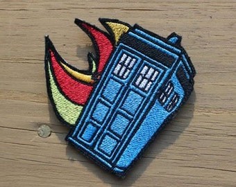 Doctor Who Flaming Tardis iron-on patch