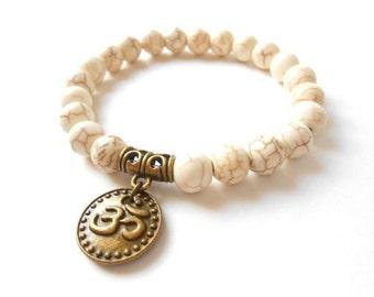 Om jewelry Yoga Mala bracelet Yoga jewelry Howlite Gemstone beaded Bracelet Meditation Calming Bracelet Namaste jewelry Birthday Gift