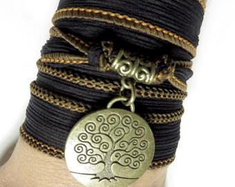 Bohemian Tree Of Life Silk Wrap Bracelet Yoga Jewelry Silk Ribbon Bracelet Spiritual Jewelry Wrapped Bracelet Birthday Unique Gift For Her