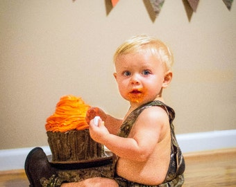 Camo bloomers with suspenders - smash cake set - camo - hunting - suspenders - diaper cover - photo prop