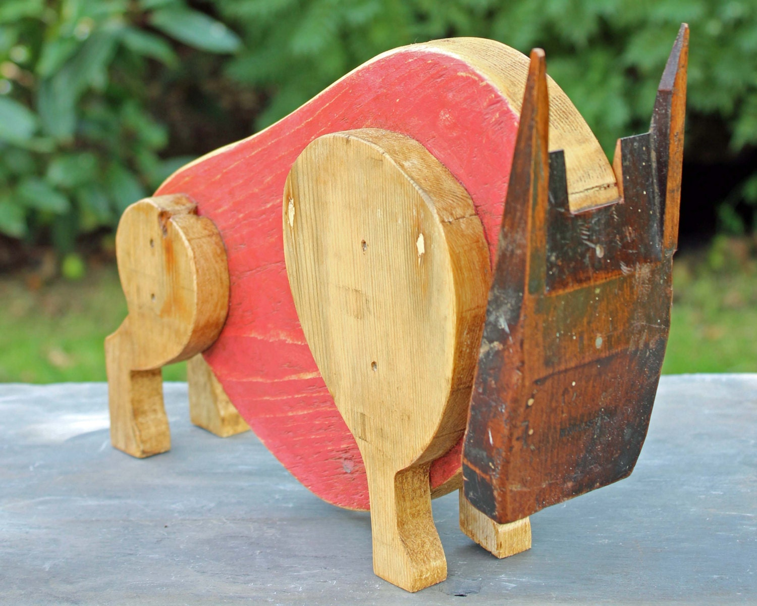 Bull sculpture red salvaged wooden rustic art by reclaimedtime