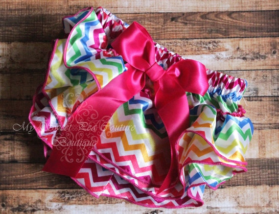 Rainbow Chevron Satin Ruffle Bloomer