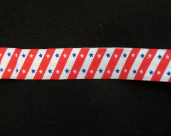 DIY 4 Yards By the Yard Fold Over Elastic- 4th of July Red White Blue Stars Stripes Make Your Own Hair Ties FOE Makes 15 Hair Ties