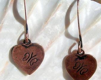 Antique Copper Earrings, Butterfly Hearts,Jewelry