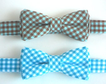 Toddler bow tie, blue gingham bow tie for boys, wedding bow tie, ring bearer bow tie, kids bow tie, baby bow tie, father and son bow tie