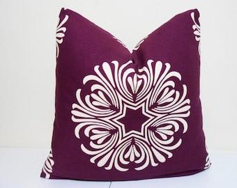 Purple- Plum Ivory Pillow Cover - Duralee Breckenbridge - Floral Pattern -  18 x 18, 20 x 20, 22 x 22. 24 x 24, 26 x 26