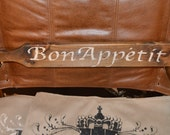 Rustic Bon Appetit wooden sign. Hand Painted Decorative wall sign for kitchens and/or restaurants.