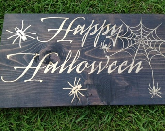 Happy Halloween Wooden Halloween Sign HD-10 by Sweet Carolina Collective