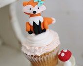 Fondant 1 qty Woodland FOX fondant cake topper woodland party cake decoration for Glamping, camping, woodland party Cake Toppers