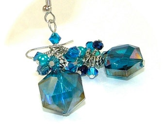 MAJOR MARKDOWN - Bright Aqua Blue - Wire Wrapped Crystal Cluster Aqua Statement Earrings
